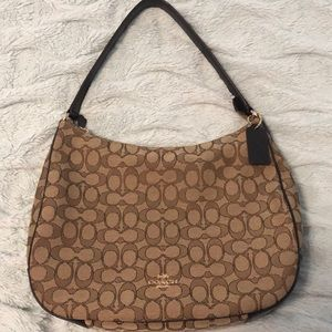 Coach hobo - brown fabric w/leather trim. NWOT